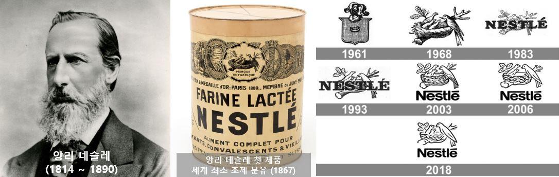 앙리네슬레 / 첫제품 / 로고변천사 (출처:Nestle.com)